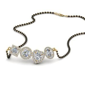 Halo Diamond Mangalsutra With Beads