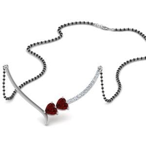 Single Chain Mangalsutra With Heart Ruby
